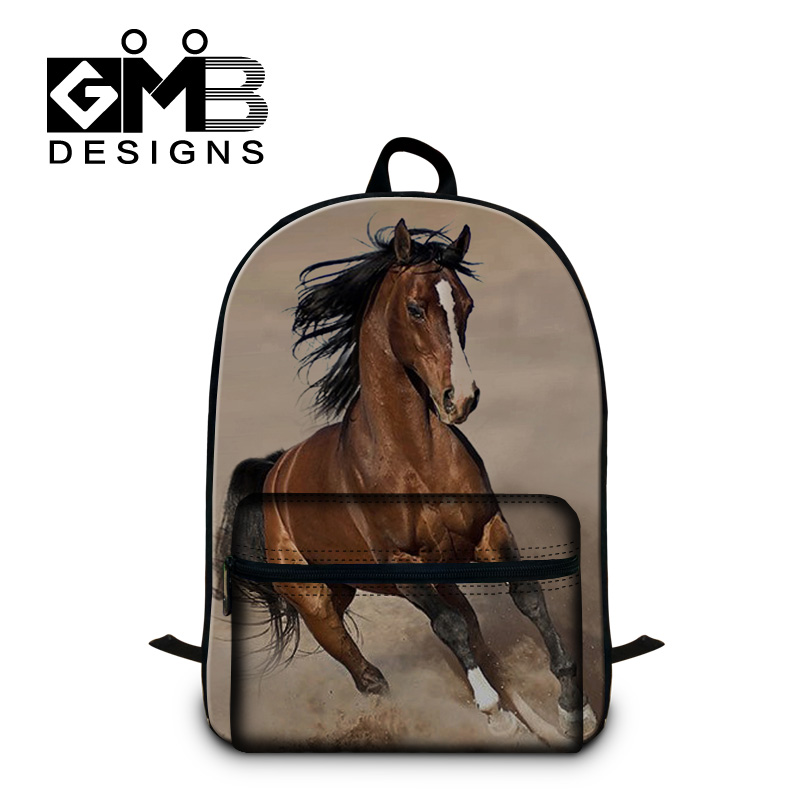 Horse 3D Printing Fashion Backpacks for boys Cool School Bookbags with front Pocket for students back pack lightweight for men