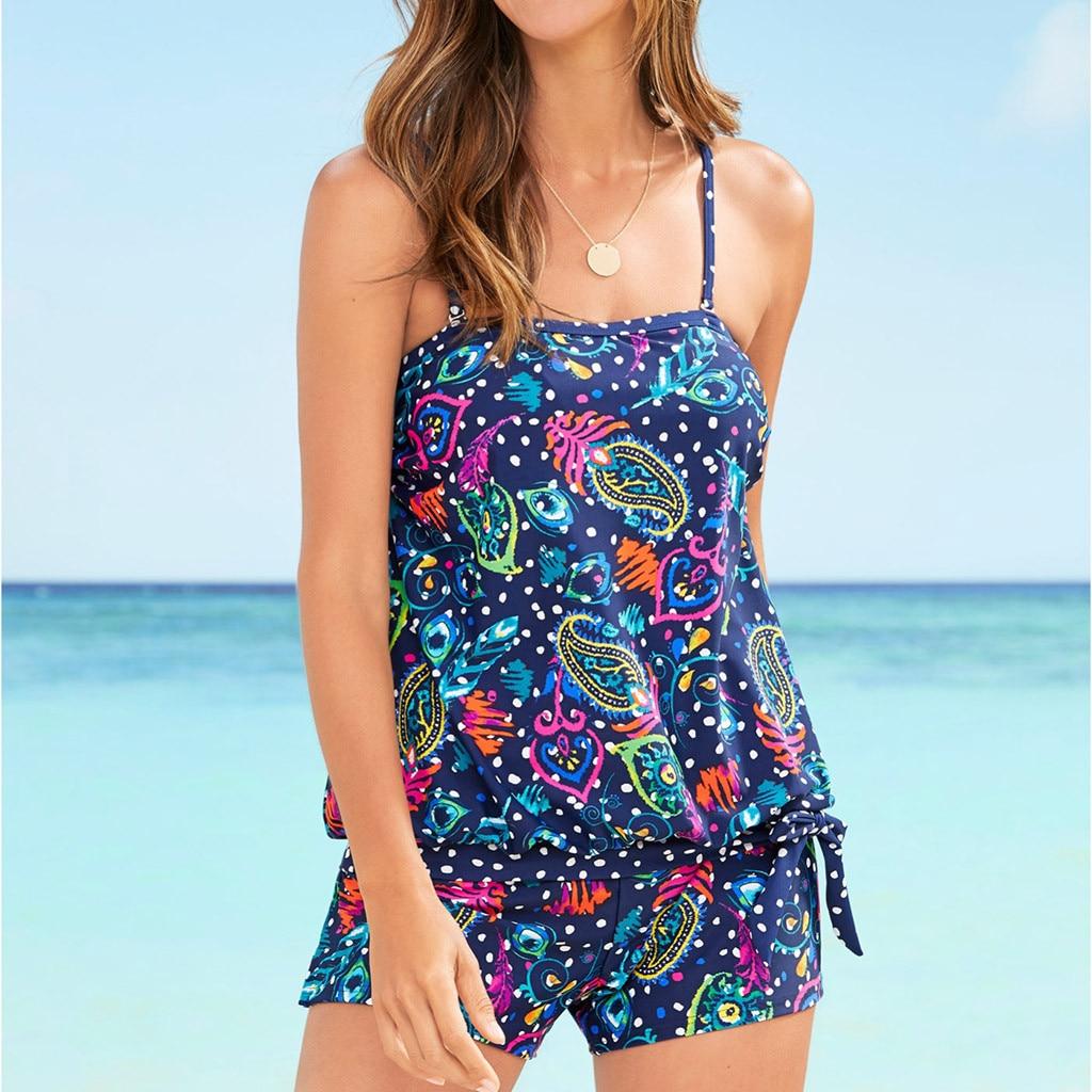 Push Up Tankini Girls 2019 2 Piece Swimsuit Women Summer Boho Brazilian Floral Print Beach Maio Feminino Praia Biquini Feminino