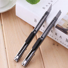 Office School Supplies - Cutting Supplies - 2 Pcs / Practical Knife Portable Pointed Round Head Mini Automatic Lock Practical Knife Stainless Steel Knife