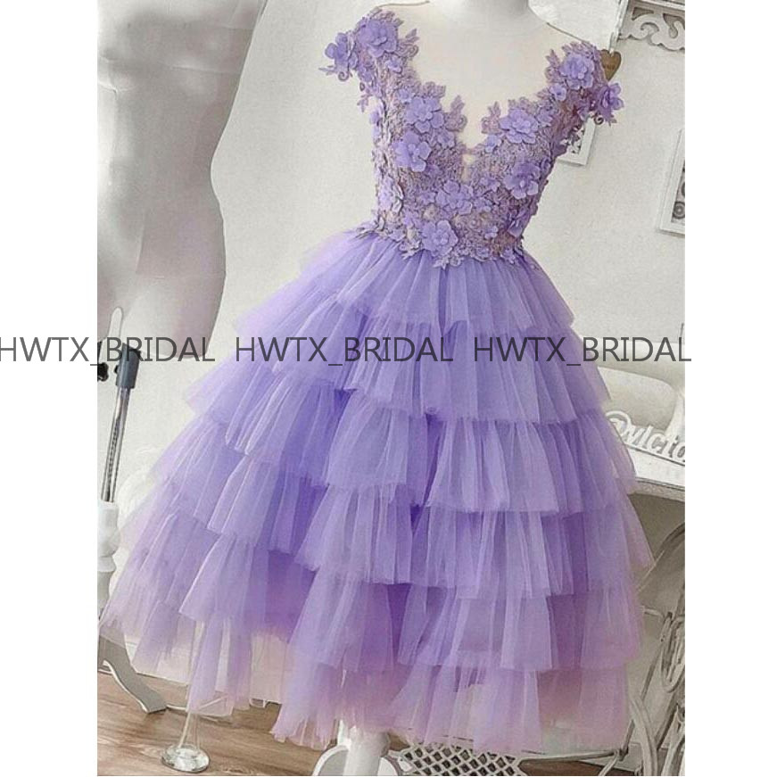 Tiered Tulle Short   Prom     Dresses   2019 Lavender 3D Flowers Applique Tea Length Homecoming Party   Dress   Girls Beautiful Ball Gown