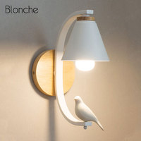 Noridc Wall Lamp Wood Sconce Wall Light Fixture Modern for Home Indoor Human Bird Deco Bedroom Lamp Vanity Mirror Bathroom Light