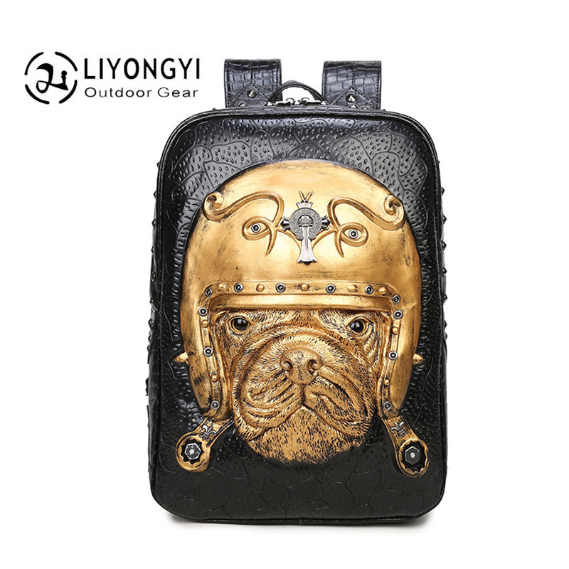 New Personality 3D Bulldog PU Leather Women and Men backpack for Girls Boys Teenagers Casual Travel Laptop Bags Rucksack mochila