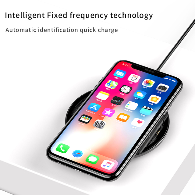 Baseus 10W Qi Wireless Charger for iPhone X/XS Max XR 8 Plus Visible Element Wireless Charging pad for Samsung S9 S10+ Note 9 8 1