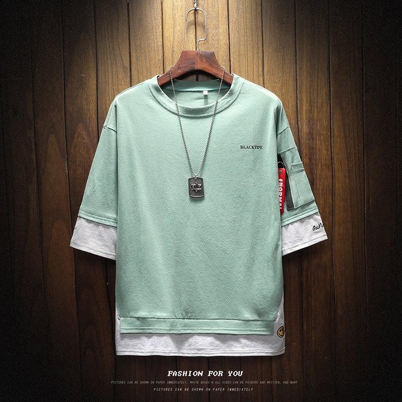 Men's Short Sleeve T-shirt 5-5 Sleeve Summer Korean Fashion Hip-hop Fake Two Loose Chao Brand 7-Sleeve Half Sleeve male MP191 2