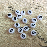 Top Fashion 4 7MM Flat Coin Round Shape White With Black 9 Printing Beads DIY Knit