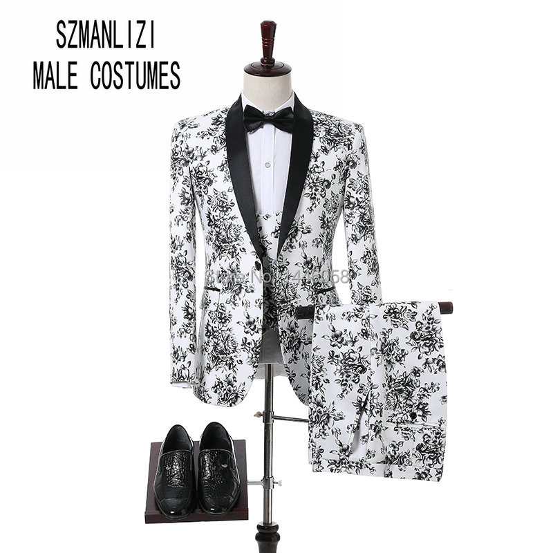 Custom Tailor Made Men Wedding Suits Fashion Design Slim Groomsmen Wedding Groom Tuxedo White And Black Rose Men Suits 3 Pieces
