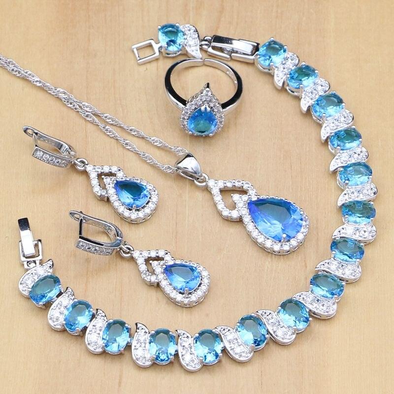 4db00fa78dff Comprar Cielo azul Zircon BLANCO CRISTAL 925 joyería de plata conjuntos para  las mujeres nupciales anillos abiertos pendientes colgante pulsera Collar  Set ...