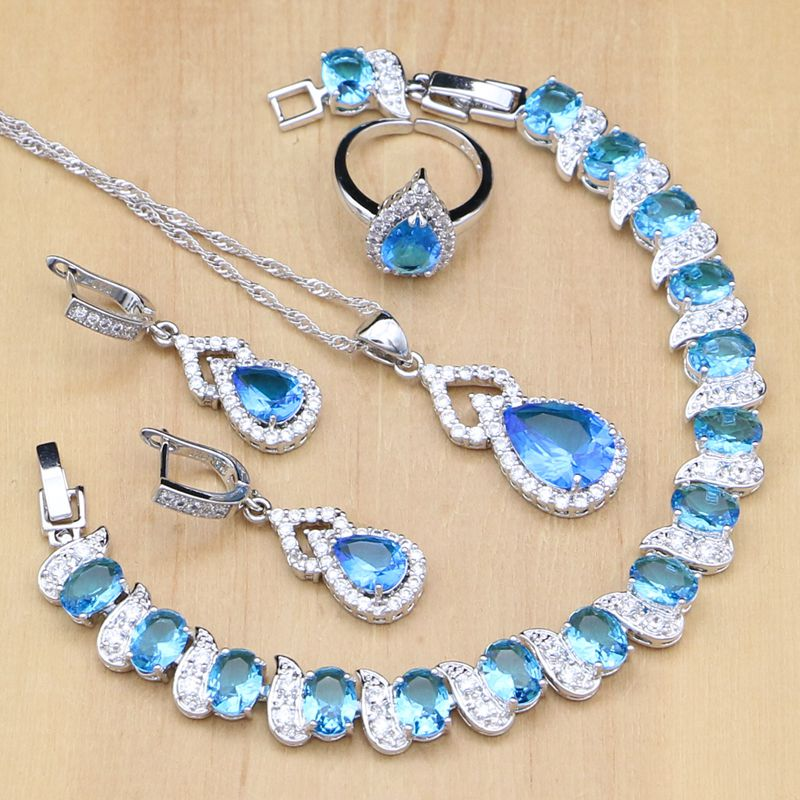 Kompetent Himmelblau Zirkon Weiß Kristall 925 Silber Schmuck-sets Für Frauen Offene Ringe/ohrringe/anhänger/armband/halskette Set Schmuck & Zubehör