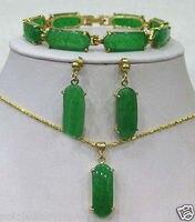Новый Драгоценности зеленый камень ссылка браслет серьги Цепочки и ожерелья кулон набор> * 18 К с позолотой кварцевые часы оптом камень CZ Кри...