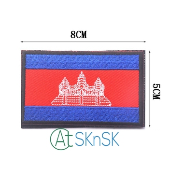 50pcs/set Cambodia Flag Badge Embroidered Korea Flag Patches Army Badge Patch 3D Tactical Military Patches DIY handmade