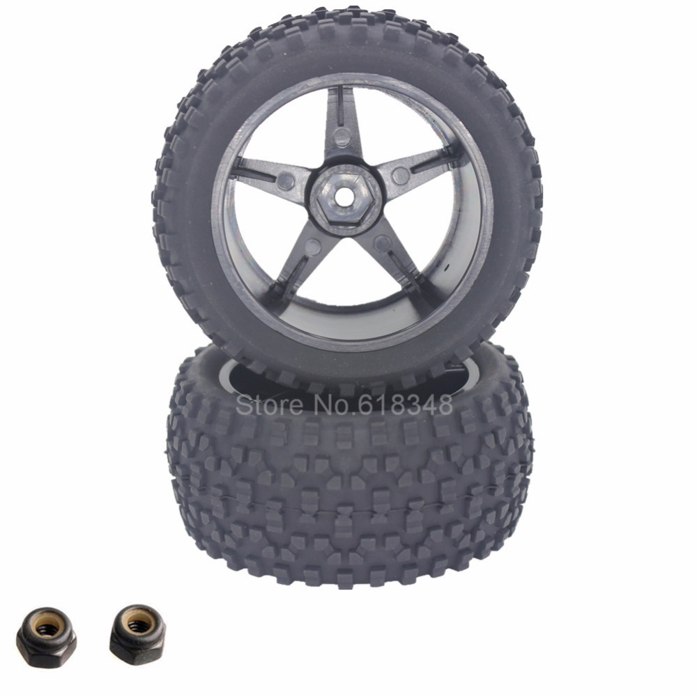 2Pcs Rubber 1/10 Buggy Rear Wheels Off Road Tires Hex 12mm Width :41mm For Remote Control Car Toy