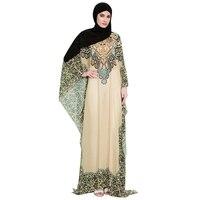 Muslim Long Dress Fashion High Quality Cozy Folk Custom Print Female Chiffon Abaya Full Sleeves Elegant Arabic Dress