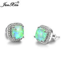 JUNXIN Fashion Female Small Square Stud Earrings Blue/Green Fire Opal Earrings For Women 925 Sterling Silver Filled Jewelry(China)