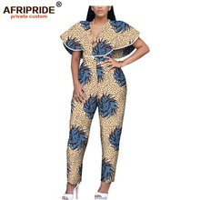 2019 african wax women jumpsuit AFRIPRIDE bazin richi short ruffles sleeves ankle length cotton sexy for A1929002
