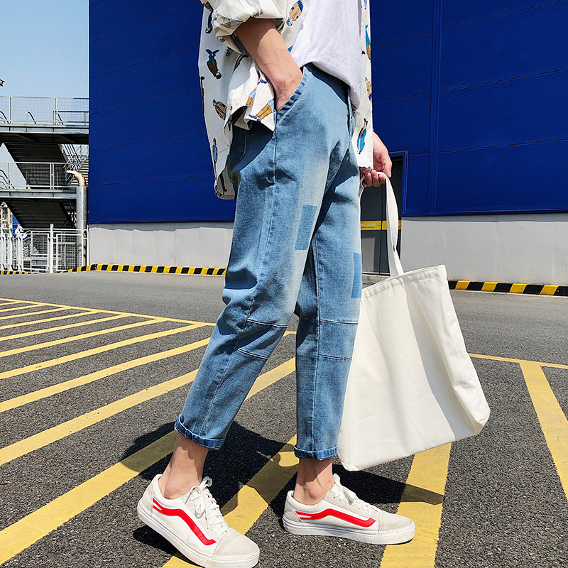 Jeans men 2018 Men Jeans Runway Patchwork Jean Fashion Hiphop Skinny Jeans For Man Hot sale Punk style Lightweight Denim Pants