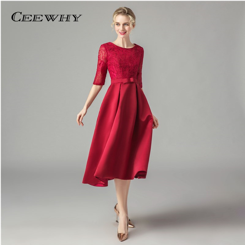 CEEWHY Tea Length Short Embroidery Lace Dresses Special Occasion Women Evening Party Dresses Cheap Prom Dress Robe De Soiree