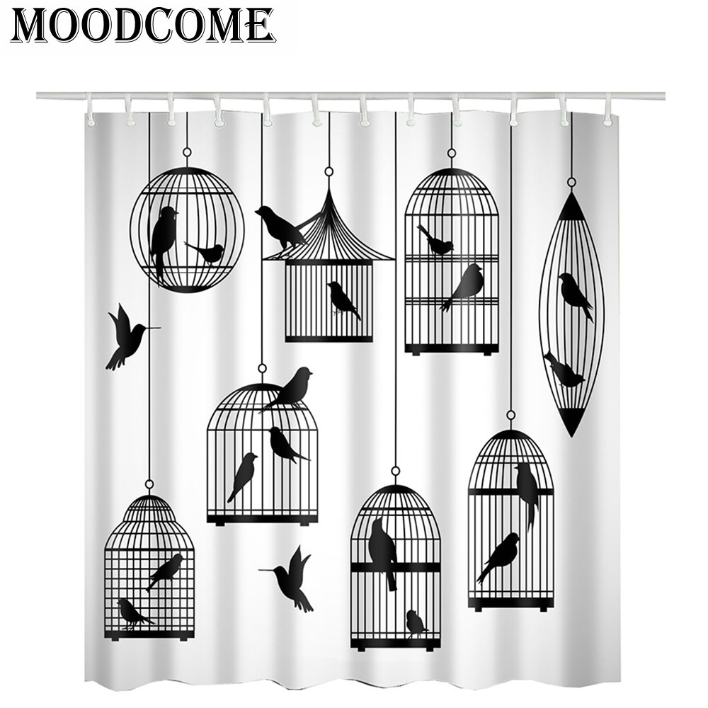 black bird shower curtain birdcage printed 3d bath curtain waterproof polyester drop shipping bathroom curtain