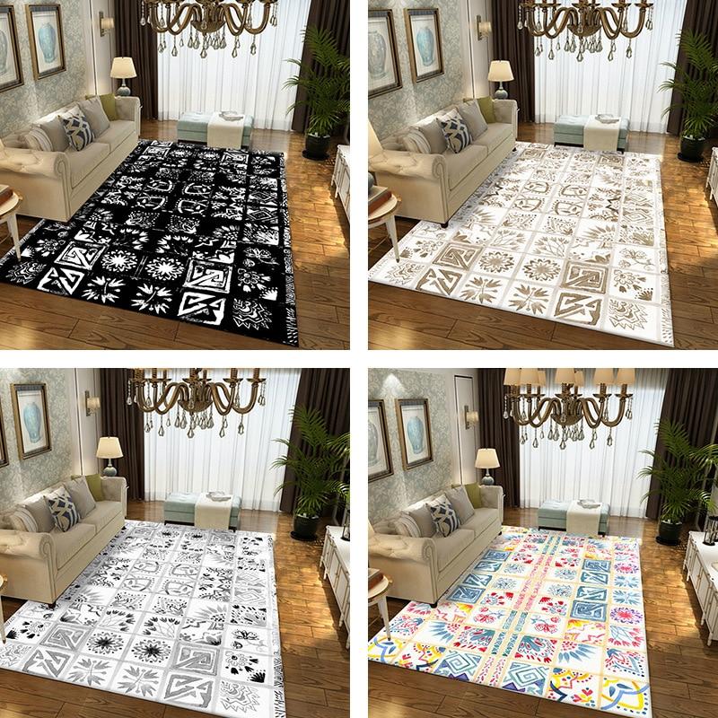 Tapis de luxe moderne salon chambre table basse grand tapis créatif motif géométrique tapis ménage impression tapis peut personnalisé