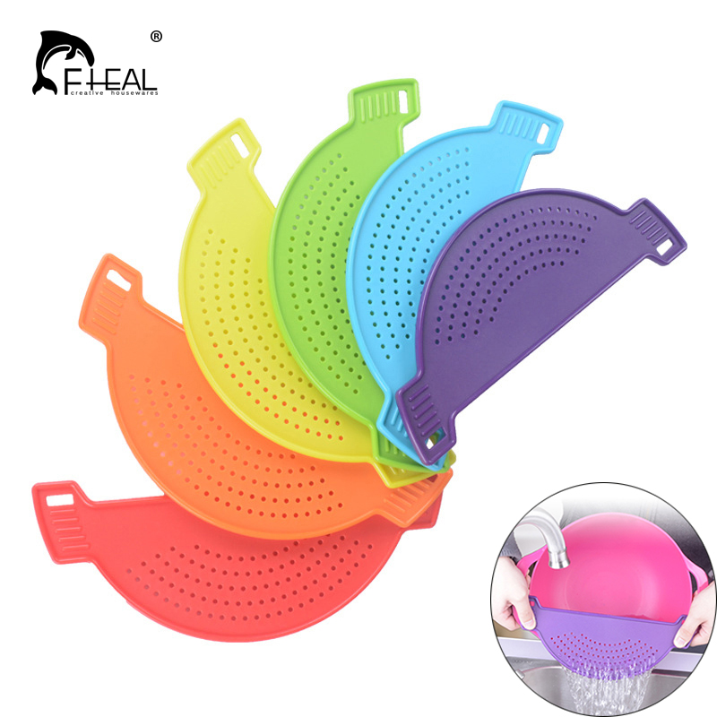 FHEAL 1pc Fruit Vegetable Wash Colander Plastic Pot Funnel Strainers Water Filters Drainer Draining Sieve Drain Kitchen Tools