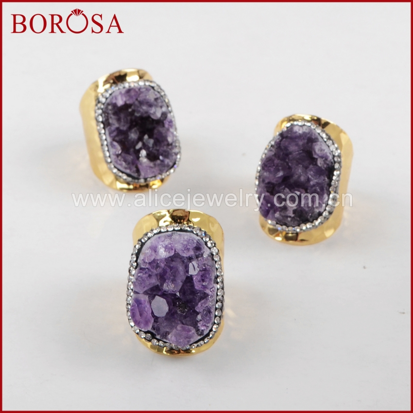 BOROSA Freeform <font><b>Raw</b></font> Natural Purple <font><b>Crystal</b></font> Gold Band <font><b>Rings</b></font>,Druzy Rough <font><b>Crystal</b></font> Gems <font><b>Ring</b></font> Fashion Jewelry JAB592 image