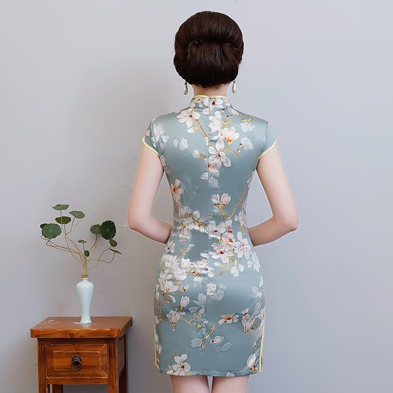 New Arrival Women's Satin Mini Cheongsam Fashion Chinese Style Dress Elegant Slim Qipao Clothing Size S M L XL XXL 368483 11