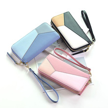 Geometric Women Clutch Pink Wallets Phone Pocket Purse Card Holder Patchwork Women Long Wallet Lady Fashion Coin Burse billetera