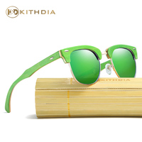 Kithdia Green Wood Sunglasses Polarized Womens / Bamboo Sunglasses With Box and Support Drop Shipping / Provide Pictures #KD034