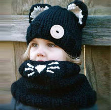 Girls cat scarf hat collar wool knitted cap 1-6 years old baby children's hats