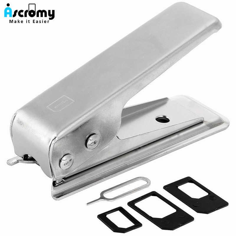 Ascromy Nano SIM Cutter Punch Tiêu Chuẩn Micro Nano SIM Adapter Công Cụ cho iPhone 7 Cộng Với 5 5 S se 6 S 6 S 5C Samsung S8 Huawei P9 P10