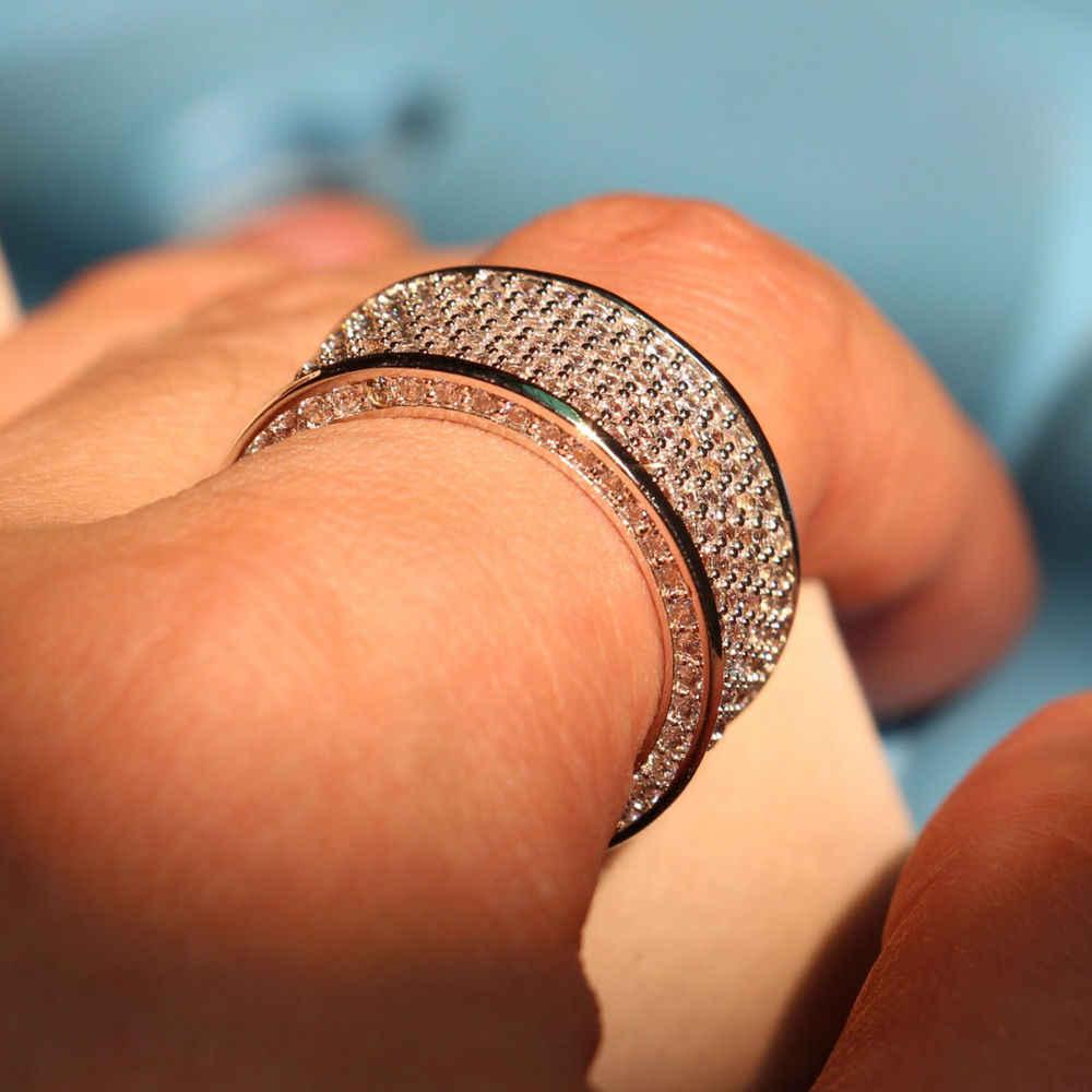 Pleine grande promotion de luxe 320pc 5A CZ 10kt or blanc rempli cercle de mariage femmes fiançailles Pave anneau cadeau de noël taille 5-11