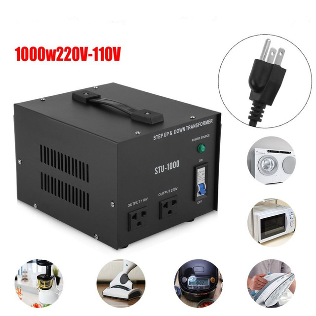 220 110V 1000W US Plug Step Up&Down Electrical Power Voltage ...