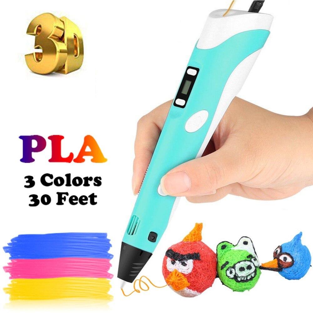 Dikale 3D Stampa Penna 2nd Generazione Schermo A LED Impresora 3D Imprimante Stift Matita PLA Filamento per I Bambini di Età FAI DA TE Arte regalo