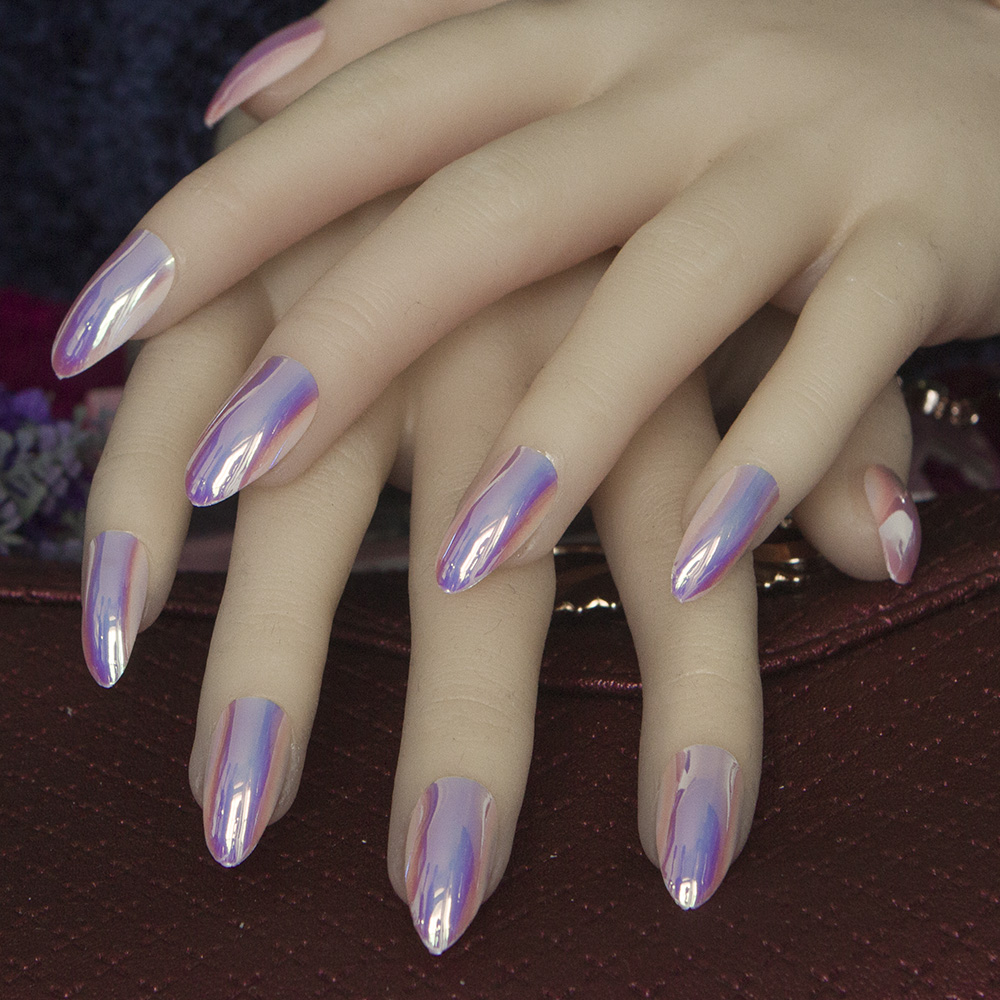 Nude Color full cover stiletto nails Tips Metal pink False nail ...