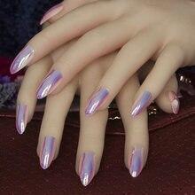 0030e4d3b70ec Neueste 24 teile satz Volle abdeckung stiletto nägel Tipps Metall Lila  Falsche nagel Salon Spiegel