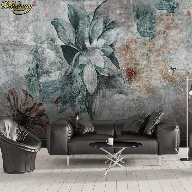 Beibehang nórdico personalizado minimalista vintage foto de flores papel pintado dormitorio fondo de la mejora del hogar 3D papel pintado sala PVC 3D pegatina extraíble base borde autoadhesivo impermeable patrón papel pintado borde decoración de pared