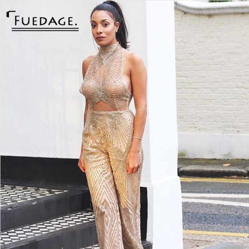 d84d0acf935 Fuedage 2018 Summer Jumpsuit Sexy Halter Sleeveless Bodycon Mesh Bodysuit  Solid Women Rompers Sequined Club Wear