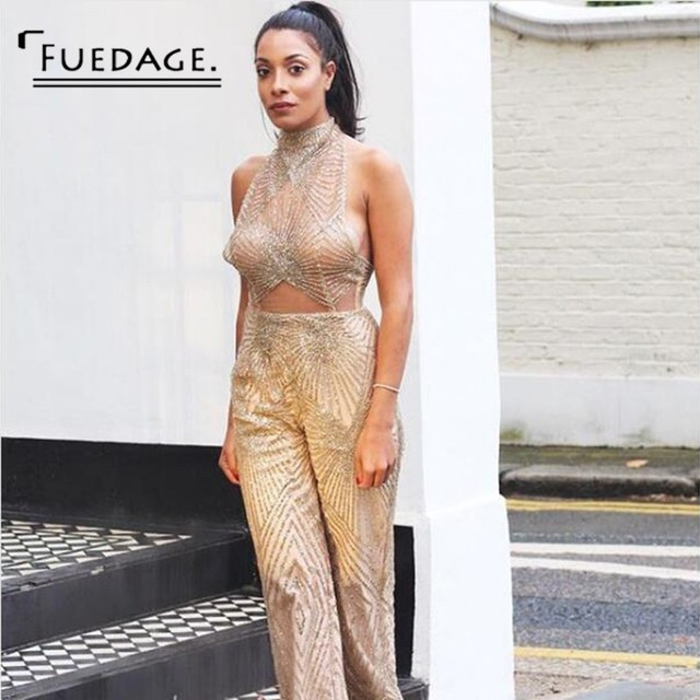 986c8841e26 Fuedage 2018 Summer Jumpsuit Sexy Halter Sleeveless Bodycon Mesh Bodysuit  Solid Women Rompers Sequined Club Wear Overalls