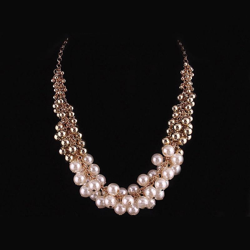 De múltiples capas de acrílico de la perla collares boho chic barato bisutería collar de cadena