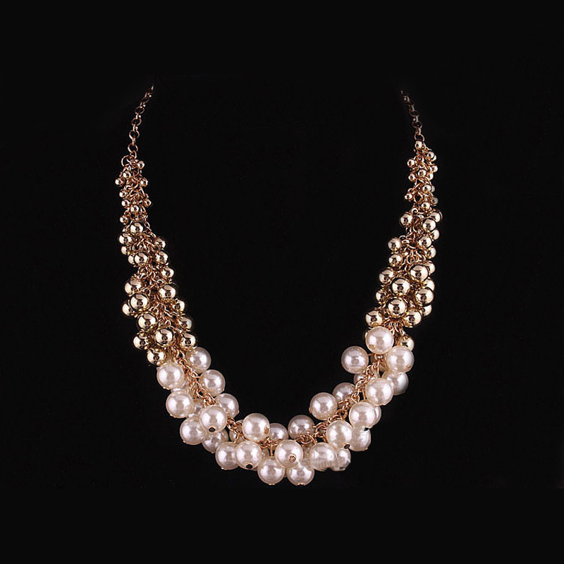 Multi Layered Resin Pearl Necklaces Boho Chic Cheap Costume Jewelry Strand Necklace Chokers