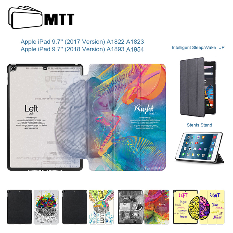 MTT for ipad 9.7 inch Case 2017 A1822 A1823 Left Right Brain Painted PU Leather Stand Cover For new iPad 9.7'' 2018 A1893 A1954