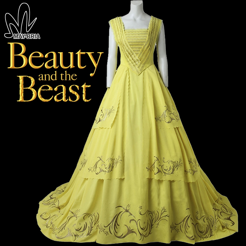 Princess belle dress beast belle long dress evening for Beauty and the beast style wedding dress