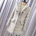 Tweed casaco de inverno mulheres, elegante casaco comprido, moda casaco feminino, plus size 5xl 6xl casaco fino, abrigos mujer invierno parka 2016