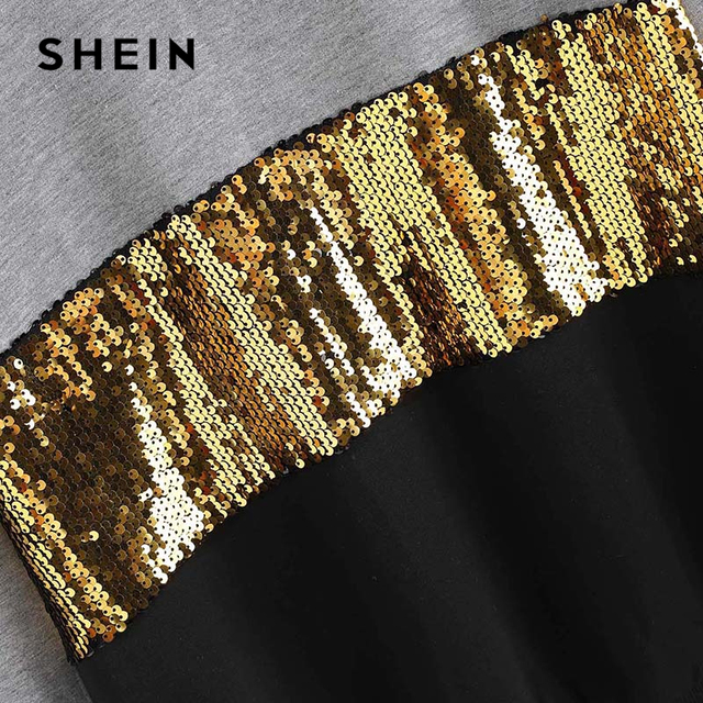 SHEIN Multicolor Contrast Cut and Sew Sequin Sweatshirt Casual Colorblock Long Sleeve Pullovers Women Autumn Sweatshirts 2