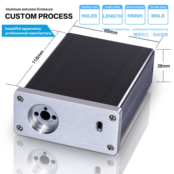 Aluminum extrusion case enclosure with DIY industry 88*38-118 mm(wxhxl) box aluminum diy hifi amplifier enclosure extrusion aluminum enclosure housing shell box 180 88 250 mm w h l