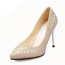 New 2016 Spring Summer Women Bride Wedding Shoes Women Red Bottom High Heels Pumps Asakuchi Crystal Ladies Shoes Valentine Shoes