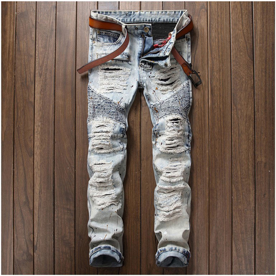 Hipster Mens Jeans Slim Straight Side Pockets Hole Ripped Jeans Men Vintage Designer Male Denim Pants Casual Trouser Hip Hop fashion mens male pants brand zipper jeans men hip hop pants slim hole patch casual jeans fashiontrouser for men free shipping