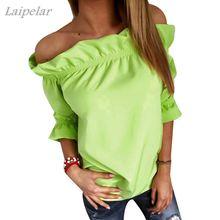 цена New 2018 Fashion Women Blouse Puff Sleeve Slash Neck Soild Shirt Strapless Off Shoulder Ruffles Feminine Blouses Ladies Tops