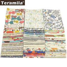 Teramila 100% algodão flores design de desenhos animados, telas de patchwork pano de algodão 50x50cm tissu diy mantas para bebê almofada