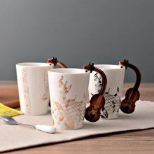 300ml Novelty Guitar Ceramic Cup Personality Music Note Milk Juice Lemon Coffee Tea Cup Home Office Drinkware Unique Gift