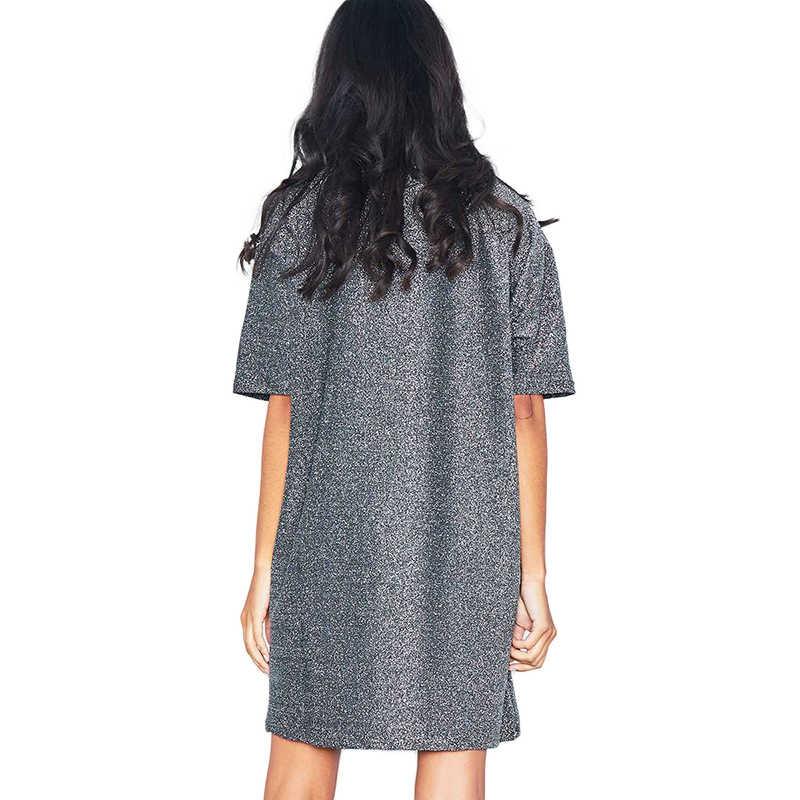 HYH HAOYIHUI Simple suelto ocio brillante seda calle estilo recto carta impresión caída hombro mujeres verano camiseta vestido